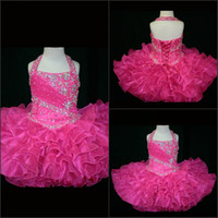Wholesale Hot Pink Glitz Pageant Dresses - 2015 Custom Made- Halter Top Little Rosie Cupcake Girl's Pageant Dresses Lovely Little Rosie Hot Pink Glitz Party Girl's Pageant Dresses
