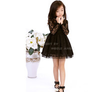 Wholesale Toddlers Black Tutu Knee Length - 2015 Fashion Toddler Girls Lace Dress Girl Knee-Length Long Sleeve Dress Floral Princess Dress