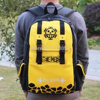 Wholesale One Piece School Bag - Wholesale-Free Shipping Anime One Piece Luffy Trafalgar Law PU School Backpack Men and Women Sports Travel Backpack Bag ANBG111