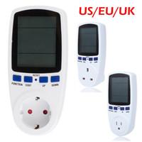 Wholesale Eu Plug Energy Meter - Wholesale-Eu Us Uk Plug Lcd Display Digital Wattmeter Power Analyzer Electronic Power Energy Meter Automatic Kwh Power Switch