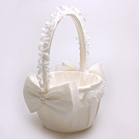 Fashionbeautiful Ivory Bow Wedding Ceremony Party Love Case Cetim Flower Girl Basket
