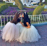 Wholesale Knee Length Yellow Skirts - 2016 White Ivory Mother and Daughter Matching Tutu Skirt Puffy Ball Gown Adult Women Mix Tulle Cheap Formal Party Prom Tutu Skirts