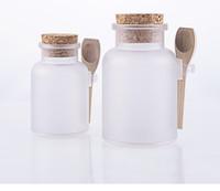 Wholesale Wooden Salt Spoons Wholesale - 150set LOT 100g bath salt ABS Bottle, 100ml powder plastic bottle, facial mask power botlle with wooden spoon BY DHL Free ship