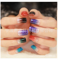 Wholesale nail glitter bag - Wholesale-Nail Art Sticker Colorful Gradual change Glitter Textured Gradient color Series Nail Stickers, 15 designs, 10 pieces   bag
