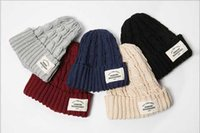 Wholesale Ladies Knitted Cable Winter Hats - Fashion Designer Cable Knitted Beanies Womens Solid Color Sports Rib Beanie Hat Ladies Winter Head Warmer Hat Fancy Skull Cap Hair Bonnet
