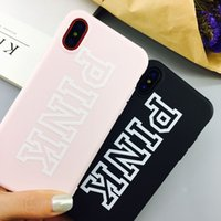 Wholesale Couples Iphone Cases - For iphone X case PINK letter soft TPU cases couple lover love pink Candy DIY back cover for iphone 6 6s plus 7 8 plus VS CASE For iphonex