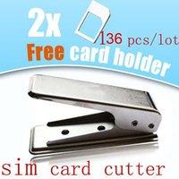Wholesale Sim Iphone4s - Wholesale-136pcs lot free ship dhl, micro SIM card cutter + 2 sim adapters for iPhone4s gift box,sim cutter Wholesale