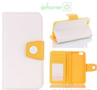 Wholesale Wholesale Photo Frame Stand Backs - Dual Color Design Wallet Style Photo Frame PU Leather Pouch Case Cover Standing Holster For Iphone 6 4.7 Soft Silicone Back Cover