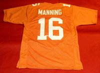 Pas cher rétro # 16 PEYTON MANNING PERSONNALISÉ TENNESSEE BÉNÉVOLE JERSEY orange Hommes Couture Throwback Taille S-5XL Football maillots