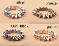 Wholesale Stretch Spike Bracelets - bangles rivet bracelet for women Fashion Retro Cool Rock Punk Studs Spike Rivets Elastic Stretch Bangle Bracelet LY4