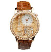 Wholesale Tan Belt For Women - Designer Watch For Women Love Eiffel Tower In Paris Diamond Print Watches Gogoey Quartz Watches Ladies Fashion Belt Bracelet Watches