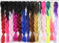 xpression haarwebart großhandel-Kanekalon Synthetic Braiding Haar Geflecht Haar Bulk 24 Zoll 85 cm 100g Ombre Two Tone Farbe Jumbo Braid Twist Haarverlängerungen 43 Farben (21-30