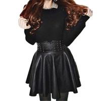 Wholesale pleated mini online - 2016 Autumn Wintage Women Fashion Korean Sexy Pleated Skirt Rivet High Waist Black PU Leather Skirts Vintage Short Mini Skirts