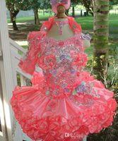 sevimli kıyafetli elbiseler satılık toptan satış-2019 Yeni Varış Cupcake Pageant Halter Organze Çiçek Kız Elbise Custom Made Sıcak Satış Sevimli Küçük Kızlar El Yapımı Çiçekler Kısa Abiye