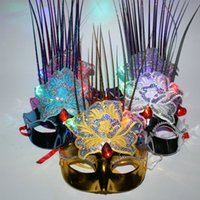 Wholesale Light Up Masquerade Masks - Women Lady Light Up LED Peony Flower Mask Masquerade Carnival Ball Party Masks Flashing Holloween Carnival Decor