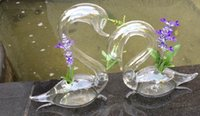 Wholesale Wedding Glass Vase Set - Free Shipping Glass Swan Sculpture Home Decor set of 2 beautiful Art Glass Vases Lover's Gift Flower decoration,wedding decor