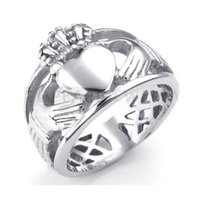 Wholesale Stainless Steel Eternity - Teboer Jewelry 3pcs Celtic Knot Eternity Stainless Steel Claddagh Ring Heart Crown MER222