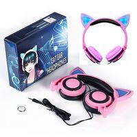 Wholesale Blink Led - 1000pcs Cat Ear Headphones Foldable Flashing Glowing LED Light Blinking Children Gaming Headset Earphone LX-L107 For PC Laptop Phone DHL