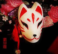 Wholesale Kitsune Mask - halloween party masks Full Face Hand Painted Japanese Fox PVC Red Kitsune Cosplay Mask Party Halloween