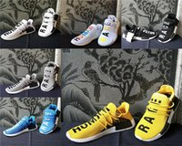 Pas cher 2017 Pharrell Williams X Humain Race NMD Chaussures Anniversaire Jaune Bleu Rouge Noir NMD Taille 36-45 Hommes Femmes Sneakers En Gros