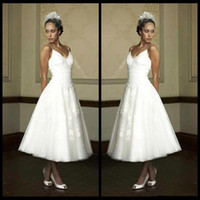 Wholesale tea length lace up back for sale - Group buy Vintage Style Tea Length Wedding Dresses Spaghetti Straps Lace Tulle A Line Short Bridal Gowns Lace up Back Custom Made W1036
