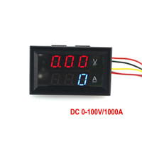"Wholesale Dual Volt Meter - New Dual Display LED Digital Voltmeter Ammeter Panel Blue And Red DC 100V 1000A Volt Amp Meter 3 Digit 0.28"" Tube Free Shipping"