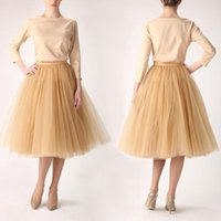 Wholesale Plus Size Yellow Midi Dress - Khaki Tulle Skirts For Women 2016 Short Party Skirts For Women Plus Size Skirts Midi Skirts Custom Made Beach Dresses Puffy Dresses
