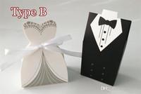Wholesale Christmas Weddings Tuxedos - 100Pcs Wedding Favor Candy Holder very good Box Bride & Groom Dress hard paper board & ribbon Tuxedo Three option Party w  Ribbon Gift