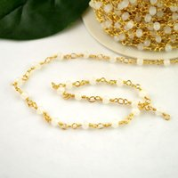 Wholesale White Beaded Rosary Beads - DIY 5Meter Wire Wrapped Beaded Chains Gold plated Rosary chain White color faceted Crystal beads size 4mm jewelry making