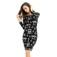 Wholesale Vintage Womens Dress Patterns - Wholesale-2016 Springle Owl Pattern Womens Winter Dress Sexy Bodycon Party Dresses O-neck Long Sleeve Vintage Dress Vestidos Plus Size 6XL