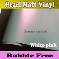Wholesale Pink Vinyl Roll - Pearlescent white Matte Vinyl wrap white- pink Satin pearl Car Wrap Film Vehicle Covers CAR STICKER Size:1.52*20m Roll 5x66ft