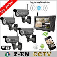 "Wholesale Security Camera Kits Monitors - 7"" Monitor 2.4Ghz Digital Wireless CCTV Security Kit Built-in Li Battery SD Recording Surveillance Camera de Seguranca Via Phone"