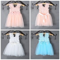 Wholesale Crochet Tutu For Baby - PrettyBaby Summer sun dress for girls Dress Elegant Lace Crochet Girls Vest Dress Veil Princess Tutu Dress for Baby Girls free shipping
