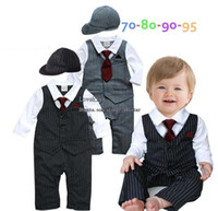 Wholesale Gray Boy Cap - Children Clothes Kids Clothing Baby One Piece Romper Boy Rompers One Piece Clothing Baby Dress Infant Wear Ball Cap Jumpsuit Rompers L43323