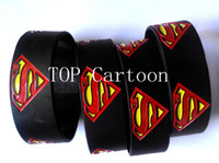 Wholesale Silicone Wristband Superman - Wholesale 50 pcs set New Superman Wristbands Silicone Bracelets SH129