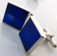 Wholesale Paints Suppliers - Blue Four Grids Enamel Paint Cufflinks Brand Cufflink Fashion Cuff Link Supplier cf619