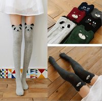 Wholesale Sexy Brown Bear - Women Lady Girls Favorite Cute 3D Cartoon Animal Cat Bear Face Thigh Stockings Funky Over Knee High Socks Fashion sexy socks