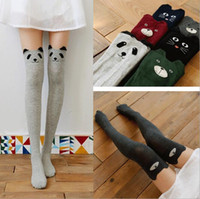 Wholesale Women Lady Girls Favorite Cute D Cartoon Animal Cat Bear Face Thigh Stockings Funky Over Knee High Socks Fashion sexy socks