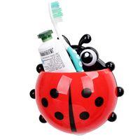 Wholesale Cartoon Storage Rack - Wholesale-free shipping for Ladybug toothbrush holder powerful suction type cartoon tooth box bathroom storage rack daily 80g