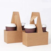 Wholesale Drink Clip Holder - Take-out Kraft Paper Cup Holder Clip Disposable Coffee Drink Tray Base with Handle for 2 cup Party Supplies 10pcs lot SK801