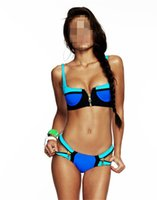 Wholesale Zip Bikini - 2015 High Quality Fashion Zip Decor Color Block Green Pink Blue Bikini Set Swimsuit Womens Swimwear B4652