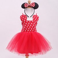 Wholesale Kids Hair Ruffles - Girl Minnie Dress Kids Red Dot Tutu Dress Girls Clothes Child Fashion Cute Clothes with Hair band