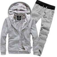 Wholesale Tracksuit Sets For Men - fashion 2015 Tracksuit for Man Casual Spring Autumn Thicking Hoody Fur Lining Fleece Hoodies Pant Men's Sports Clothing Sets Sweat Suits
