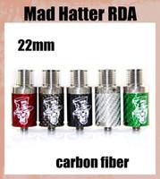 Wholesale Mech Atomizer - Mad Hatter RDA Atomizer with Airflow control Vaporizer carbon fiber Drip Tips RDA fit 22mm Mech mod vs Troll RDA Freakshow RDA atb298