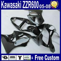 ingrosso kit per la pesca per kawasaki-Kit carenatura nero lucido per carene Kawasaki ZZR600 2005 2006 2007 2008 Carenatura ZZR 600 e 2000 -2002 ZX6R
