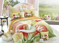Wholesale Calla Lily Bedding - Wholesale-Calla Lily Bedding Set Queen&King Size 3D Floral Print Cotton Textiles Sets 4pcs Include Comforter Cover Bed Sheets Pillowcase