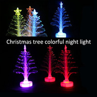Wholesale Christmas Trees Toys - 2017 new creative colorful glowing Christmas tree Christmas light toys gifts led flash fiber tree wholesale
