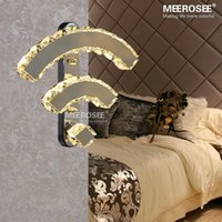 Wholesale Sconce Chrome - Modern Crystal Wall Lamp Chrome Mirror Finish Stainless Steel LED Wall Light Interior Decoration WIFI Wall Sconces MD81317