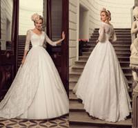 Wholesale Decent Dresses - High Quality Luxury Lace Applique A-Line Wedding Dresses Sheer V Neckline Long Sleeves Bottons Elegant Iullsion Tiered Skirt Sweet Decent