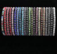 pulseira de prata linha venda por atacado-2017 22 Cores 2 Comprimentos Colorido Primavera 1-Row Rhinestone Pulseiras De Cristal banhado a Prata Tênis venda quente Moda Jóias